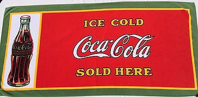 Vtg 1991 Ice Cold Coca Cola Sold Here Swim Beach Towel Green Red Yellow