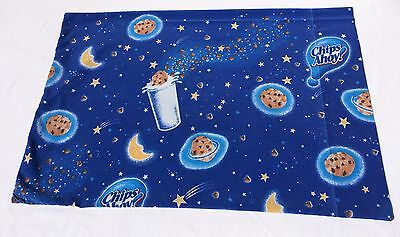 Vintage Chips Ahoy Blue Pillowcase Chocolate Cookies Stars Moon Quilt Fabric