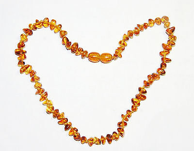 Natural Baltic amber baby necklace, honey - bright cognac chips 33 cm/13 inch