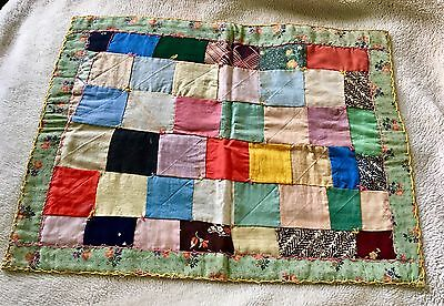 Vtg Antique 1800's Doll Crazy Quilt All Hand Pieced & Quilted Some Embroidery