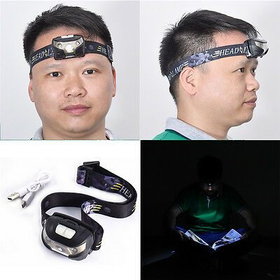 Ultra Bright Q5 2LED 5 modes Headlamp Headlight USB Rechargeable Mini Head Torch