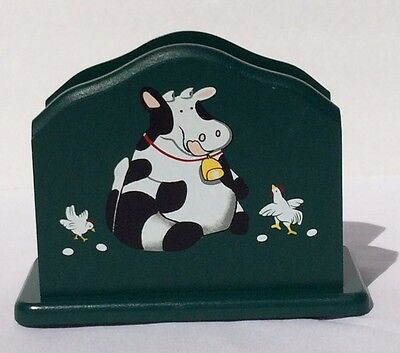 Vtg Napin Holder Green Country Decor Dairy Cow Chickens Eggs Made In Taiwan