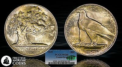 1935 Connecticut Silver Commemorative Half Dollar PCGS MS66 CAC Golden - PACoins