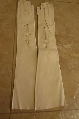 French ABOVE Elbow Length White Kid Leather Pearl Button Opera Gloves EUC 7