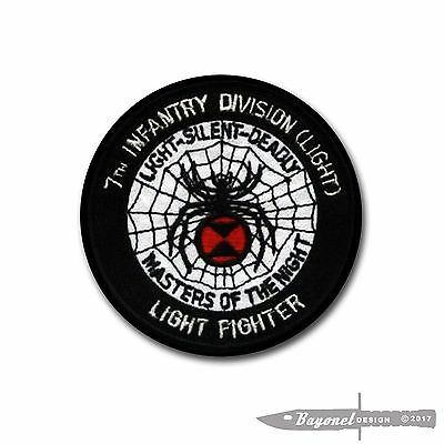 """3 1/2"""" 7th Infantry Division - Lightfighter - 7th Black Widow Embroidered Patch"""