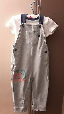 M&S boys dungaree and body set, 12-18 months, cotton
