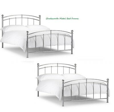 CHATSWORTH METAL BED FRAME SILVER, SINGLE 3ft, DOUBLE 4ft 6inch, KINGSIZE 5FT