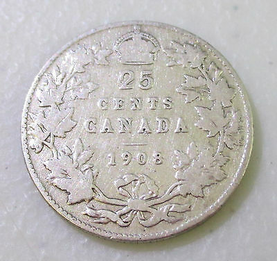 1908 Canada 25 Cents Silver Foreign Coin - Lot S11