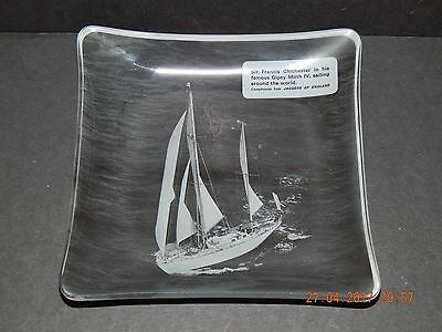 Photographic Glass Dish Francis Chichester Gipsy Moth Iv Sailing Round World