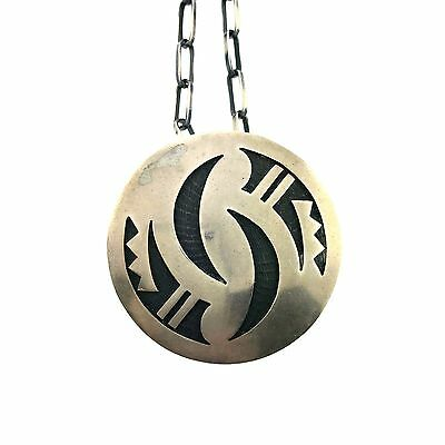 Native American Hopi Sterling Silver Overlay Pendant Necklace with Pin back