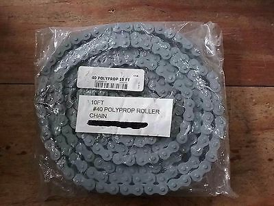 #40 POLYPROPYLENE, 10 ft, Plastic roller chain**New Surplus**