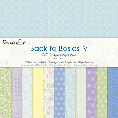 12 Sheets Dovecraft 6 x 6 Scrapbook Paper Back to Basics IV / Papeles
