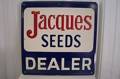 Original Jacques Seed Corn Double Sided Embossed Reflective Metal Sign / NOS