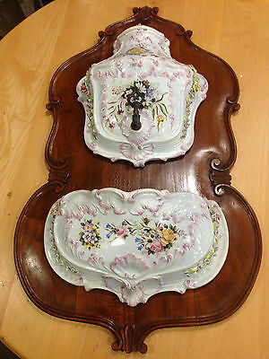 Antique Ornate Porcelain Lavabo with Cover and Underpan on Board