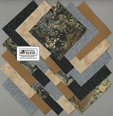"40~4"" Brown,Black,Tan ""Stone"" Fabric Squares/Quilt/Craft/Sew/Charm Pack #0904"
