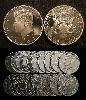 Roll of 20 2005-S Proof Kennedy 90% Silver Half Dollars