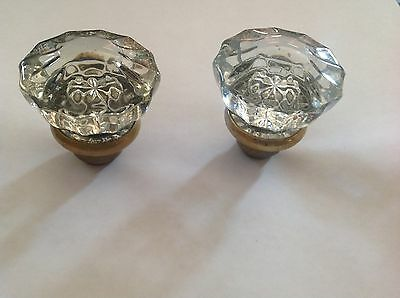 2 Vtg GLASS DOOR KNOBS 12 Point Crystal Clear Glass BRASS Handles/Doorknobs Only