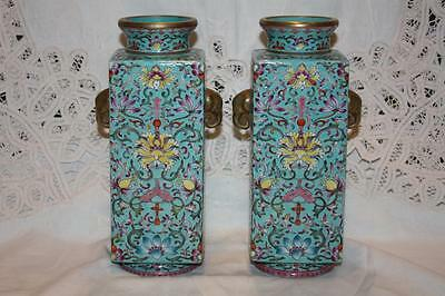 Pair of Rare Chinese Republic Period Turquoise Ground Famille Rose CONG Vases