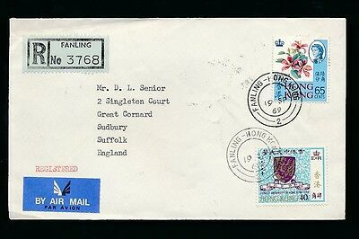 HONG KONG 1969 FANLING REGISTERED UNSEALED MAIL to SUFFOLK GB 65c + 40c