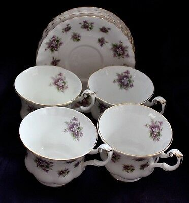 Royal Albert 4 Sweet Violets Cup And Saucers  Sets England Beautiful