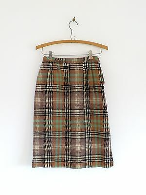 Vtg 50s 60s Girls Summit of Boston Tan Green Black Plaid Mod Boho Wool Skirt 10