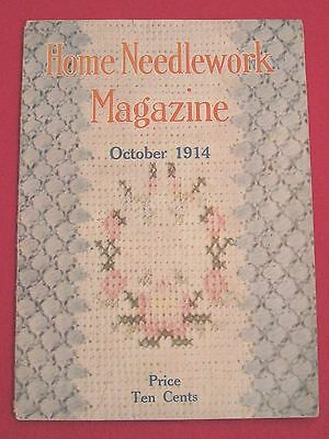 Antique Home Needlework Magazine Oct 1914 Crochet Embroidery Knit Advertising