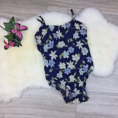 Vtg Adrienne Vittadini One Piece Swim Suit Woven Cotton Floral Blue Sz 10? (R)