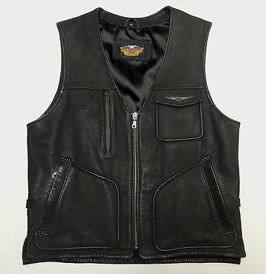 Harley Davidson Nostalgia Distressed Thick Buffalo Leather Vest Mens Medium  71