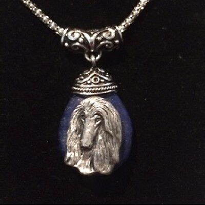 AFGHAN hound Lapis  teardrop necklace~ dog breed jewelry~Awesome!