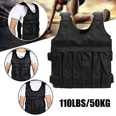 110LBS/50KG Adjustable Weighted Vest Loss Training Running Jacket Waistcoat