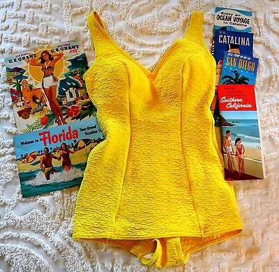 1950's Time Capsule Vintage Golden Yellow Swimsuit One Piece & Travel Brochures