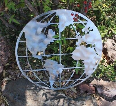 Metal Art World Globe Map Silver Polished Steel metal wall art decor 16""