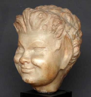 "18Cm-5-3/4""▇ Roman Young Smiling Satyr/faun - Marble 1St Century Ad-On Base"