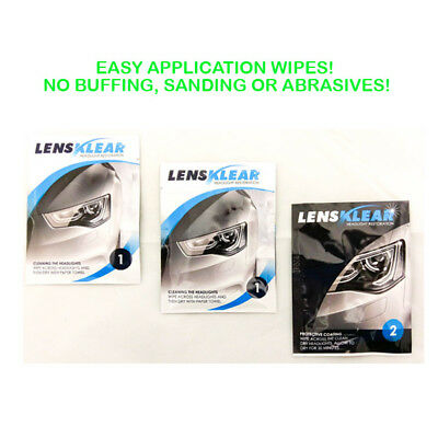 LENS KLEAR Headlight Restoration Kit - Easy to use wipes, no sanding like Rain-X