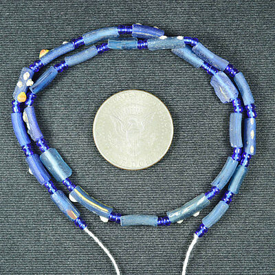 Ancient Roman Glass Fragment Beads 1 Strand Blue 100-200 Bc 670