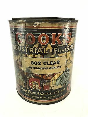 vintage old antique COOKS clear coat finish varnish can metal paint full sealed