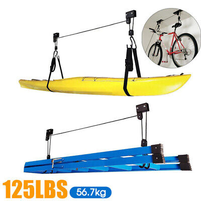 Storage Kayak Hoist Lift Pulley System Ceiling Hook Garage Shelf Free Rope
