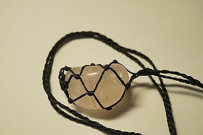 Black macrame necklace gemstone pouch with Rose Quartz tumble stone