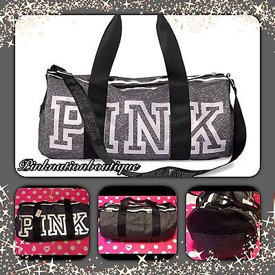 NWT Victoria's Secret PINK Gym Duffle Tote Grey Marl White Logo Bag! Sold Out!