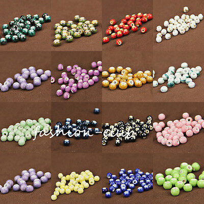 200Pcs 6mm Chinese Ceramics Craft Spacer Loose Beads Necklace Jewelry 27Colors