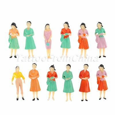 10x Assorted Pose Figures Model Architectural Scenery Layout 1:50 Scale Painted