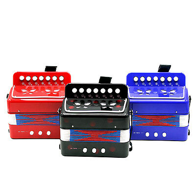 Child Button Toy Accordion 7 Keys 3 Buttons Blue/ Black/ Red