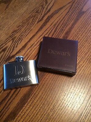 "Dewar's Scotch  4oz Flask -Stainless Steel  ""NEW"""