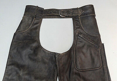 Harley Davidson Distressed Black Jean Style Leather Chaps Panhead Large Lg  133