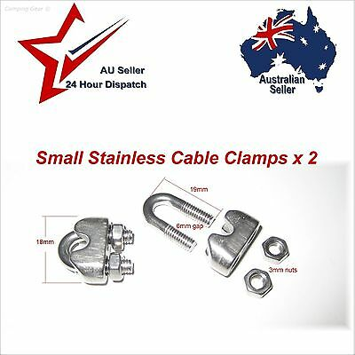 2 Pcs 304 Stainless Steel Saddle Clamp Cable Clip for Wire Rope Suit 4 to 5mm