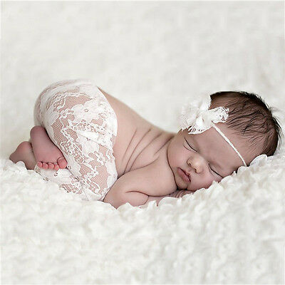 Newborn Baby Photography Props Girl Costume Outfits Crochet Lace Pants+Headdress