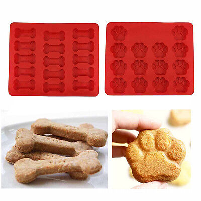 2 PCS Silicone Puppy Pet Dog Paws Bones Baking Molds Cake Mold Biscuit Mould