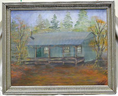 Signed R.A. '01 Cabin in Wilderness Oil Painting in Silver Vintage Wooden Frame