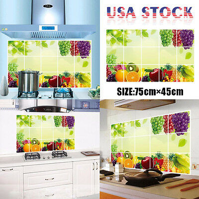 Fruit Printing Kitchen Oilproof Removable Wall Stickers Art Decor Home Decal