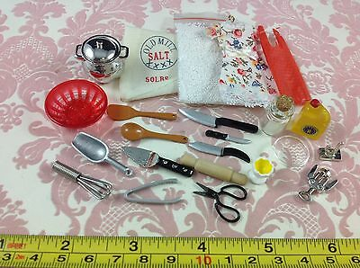 Dollhouse Miniature Home/Kitchen/Chef Metal Cooking Tool Set 23 pcs 1:12